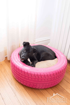 how to dispose of car tyres - turn them into a dog bed