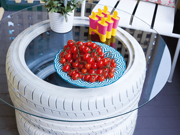 how to dispose of car tyres - turn them into a side table